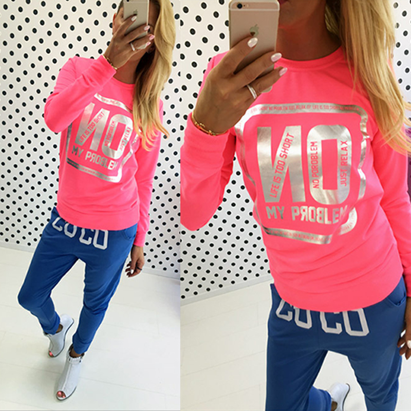 Women Sports T Shirt Neon Color Stamping Love Print Pullover