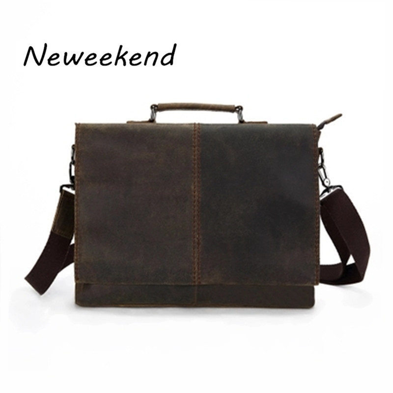 NEWEEKEND 1079 Casual Genuine Leather Crazy Horse Square Thick Skin 16 Inch Crossbody Handbag Briefcase laptop ipad Bag for Man neweekend 1005 vintage genuine leather crazy horse large 4 pockets camera crossbody briefcase handbag laptop ipad bag for man