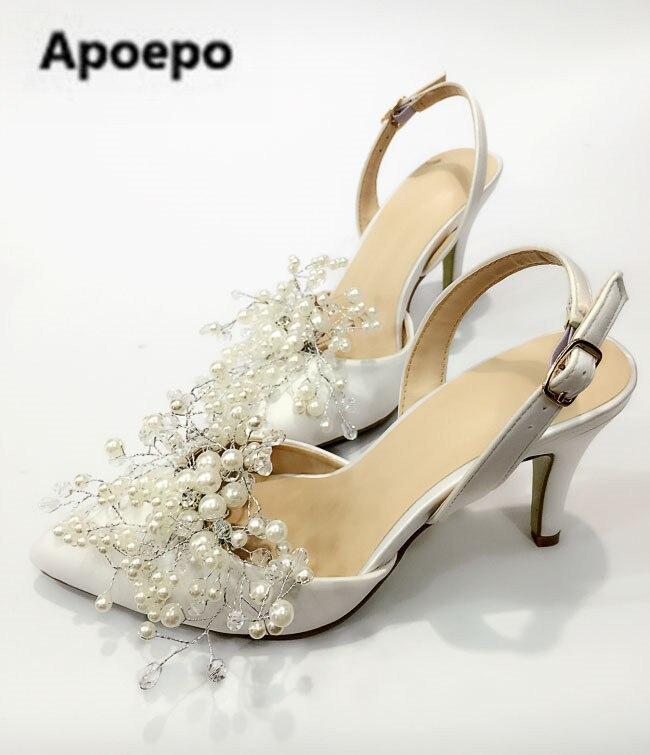 Apoepo brand white wedding Bridal shoes 7.5 cm Set of toes ladies pumps Handmade pearls decor Satin high heels sandals newest aidocrystal bridal white jewelry handmade women wedding bag and shoes set