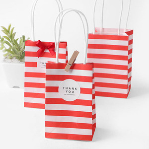 Image 4 - 5pcs Small Gift Bag with Handles Red Black Striped Paper Box Bag for Gift Packing Mini Candy Bag Birthday Party Decoration