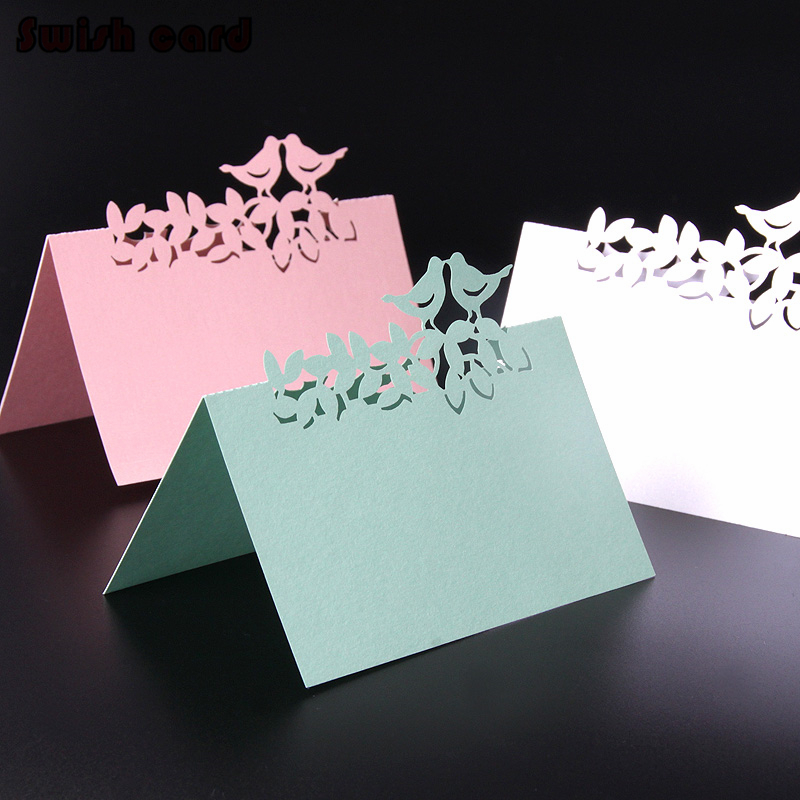 50pcs Table Name Cards Place Cards Laser Cut Love Birds