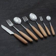 Wood Handles Stainless Steel Coffee Ice Cream Dessert Fork Stirring Coffee Scoops Tableware