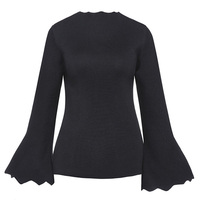 Sisjuly Women Sweater Wool Blends Solid Black Ruffles Slim Long Butterfly Sleeve O Neck Pullovers Girl