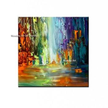 Moderna pittura a olio Astratta 100% dipinto a mano della Tela di Canapa Pittura decorazione della Casa di alta qualità di paesaggio della lama pittura immagini