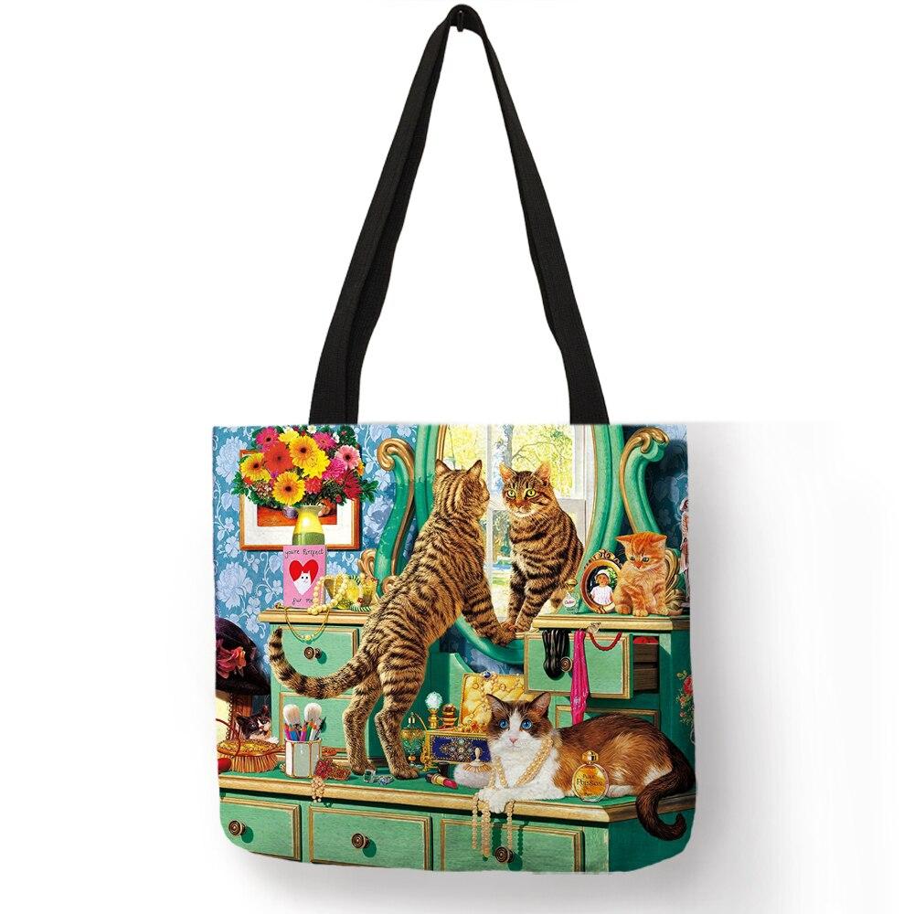 Oil Painting Cat Print Women Tote Bags Linen Shopping Bag Reusable поло print bar nuke cat
