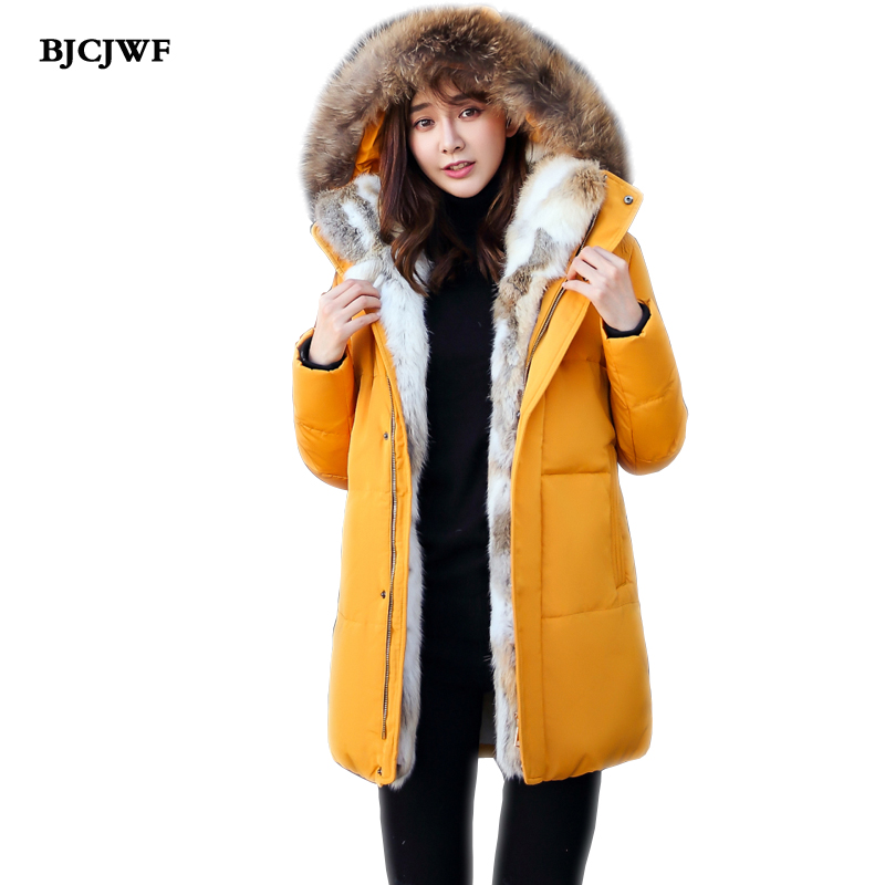 BJCJWF New Winter Jacket women   down     coat   Real Fur collar Hooded Plus Cashmere Parka Thicking warm duck duck Jacket Plus size 5XL