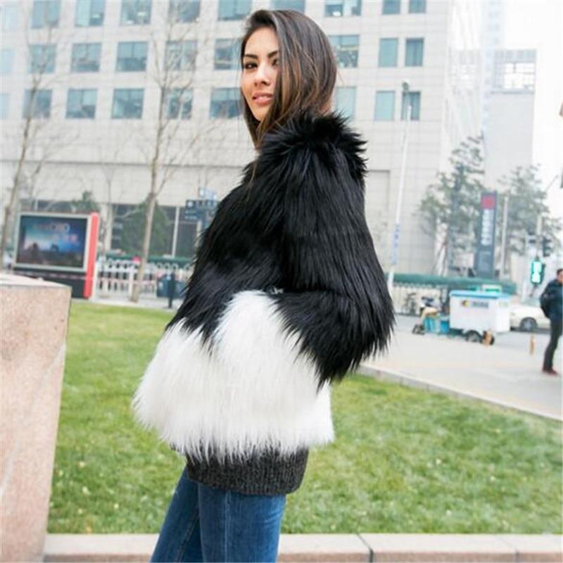 A5002 Manteaux Patchwork Fourrure 6xl 5xl Femelle Et La Femmes Noir Pour De Blanc Veste Black Vêtements Hiver Renard And Plus White Taille Manteau Fausse wR5SIqxf