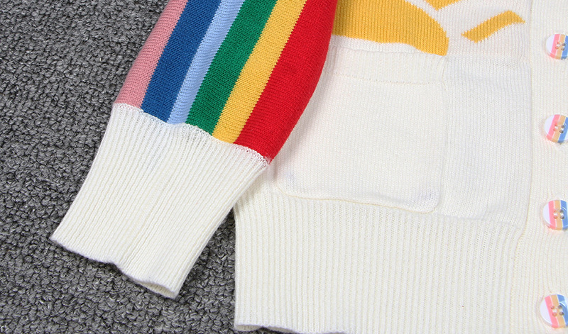 3e8e32bb3 Everweekend Ins Girls Boys Rainbow Stripes Knitted Sweater Cardigans ...