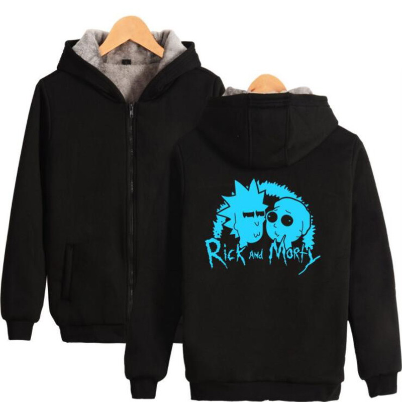 Big Size Men Clothing Winter Jackets and Coats Anime Rick and Morty Men Hoodies Sweatshirts Thick Warm Zipper Hooded Tracksuit