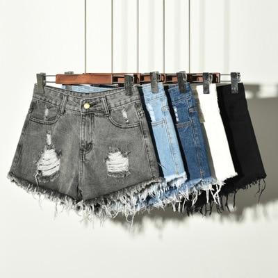 Jian Peng Denim Shorts Womens Tassel Hole High Waist Summer Short Jeans Two Holes Shorts Women With S To 6XL Plus Size