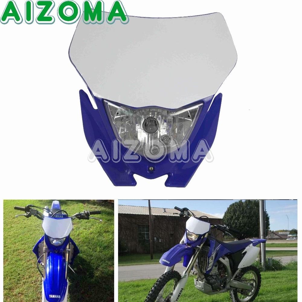 12V 35W Supermoto Enduro Headlight For Yamaha Headlamp Mask WR YZ TTR 110/125/250/250F/250R/250X/450F/426F Motocross Head Light