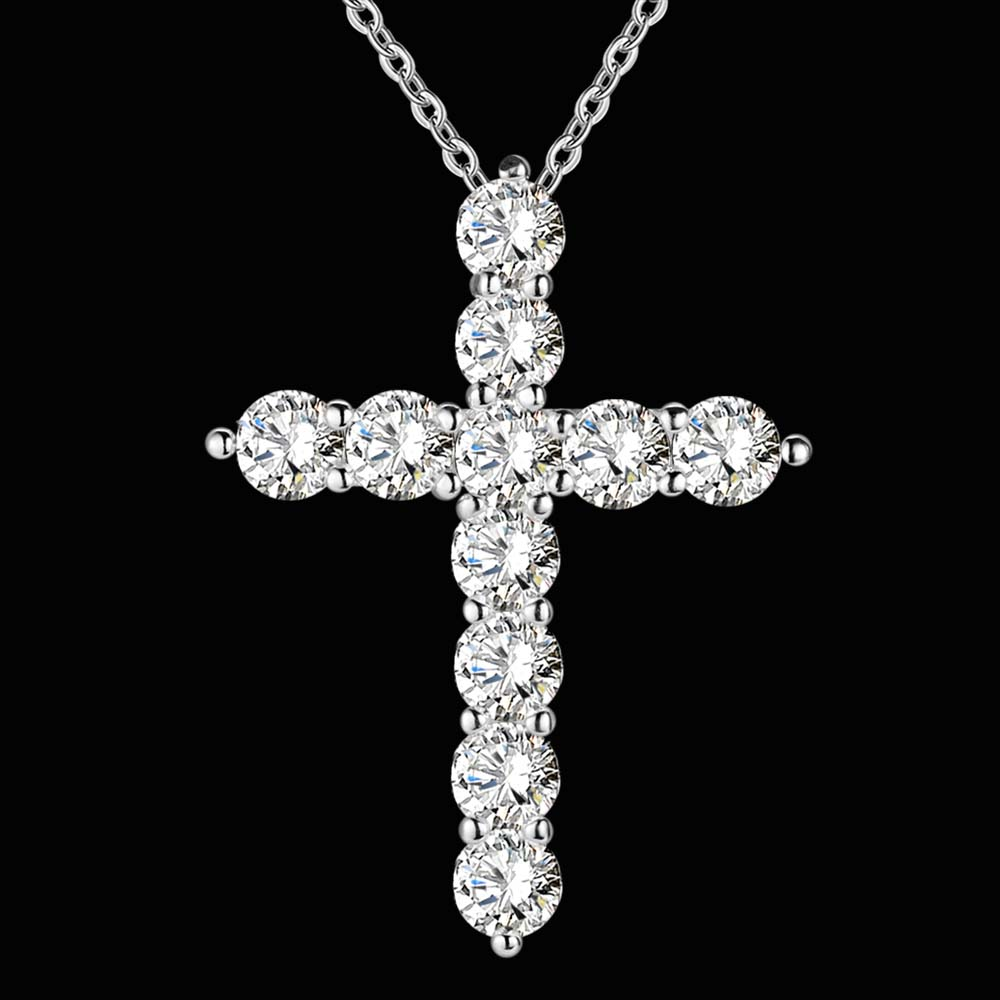 silver color  necklace jewelry women wedding fashion Cross CZ crystal Zircon stone pendant necklace  Christmas gift n296 1