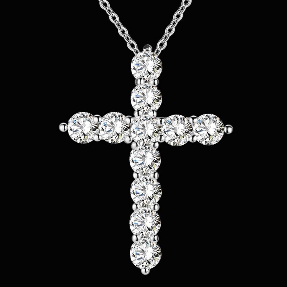 versilbert halskette schmuck frauen hochzeit mode Kreuz CZ kristall - Modeschmuck - Foto 2
