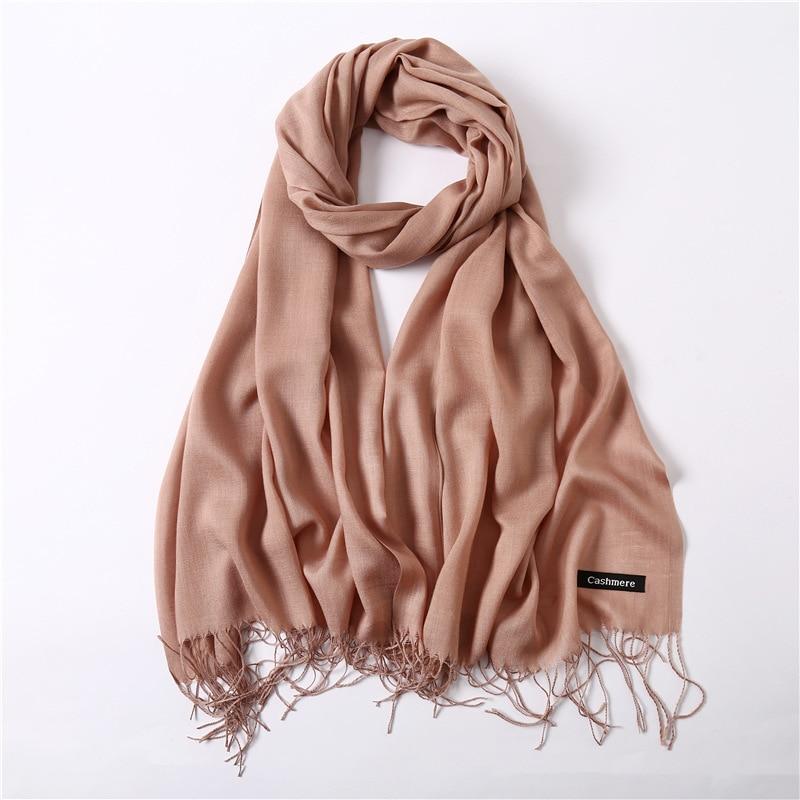 2020 women scarf fashion summer thin solid shawls and wraps lady pashmina bandana female hijab winter long foulard head scarves(China)