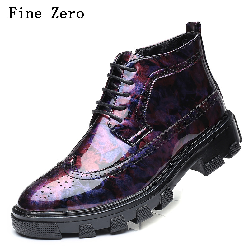 Fine Zero Men Dress Wedding Shoes Shadow Patent PU Leather Luxury Fashion Groom Party Shoes Men Oxford Shoes Male Casual Flats