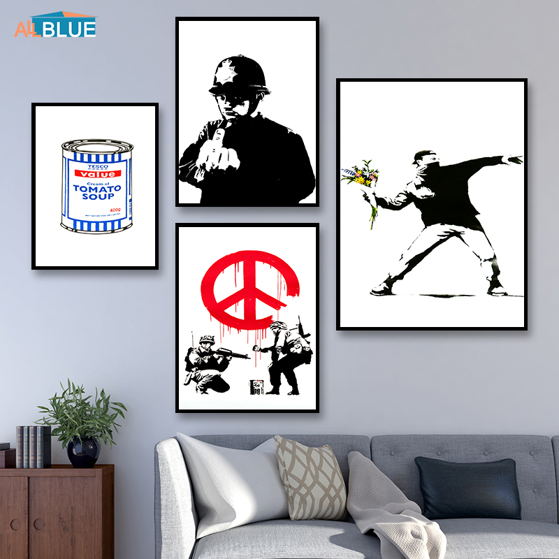 Canvas Prints Banksy Poster And Prints Wall Art Decorative Pictures Wall Pictures Nordic For Living Room Abstract Home Decor