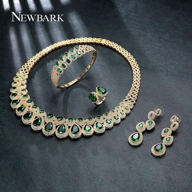 Jewelry Sets Jewelry & Watches Gold Unique 4 Pieces Dubai Zirconia Stone Bridal Wedding Jewellery Set