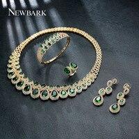 NEWBARK Brand Women Luxurious Wedding Jewelry Sets Including 1 Ring 1 Earrings 1 Bracelet 1 Neckalce