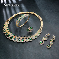 NEWBARK Brand Women Luxurious Wedding Jewelry Sets Including 1 Ring 1 Earrings 1 Bracelet 1 Neckalce