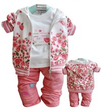 2016 baby Girl's clothing sets Rose flower suits set casual 3pcs Children's clothing set coats hoody jacket+long shirts+trousers