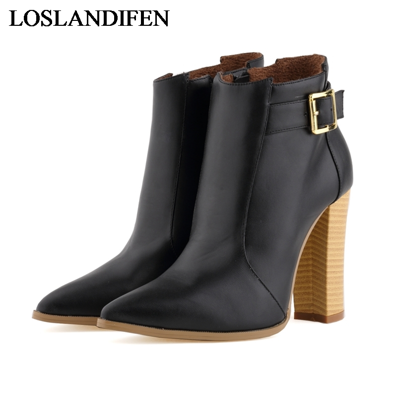 Womens Ladies Winter Pointed Toe Pigskin Leather High Heels Casual Ankle Boots Shoes Size 35-42 Fashion Boots Shoes NLK-C0104 egonery quality pointed toe ankle thick high heels womens boots spring autumn suede nubuck zipper ladies shoes plus size