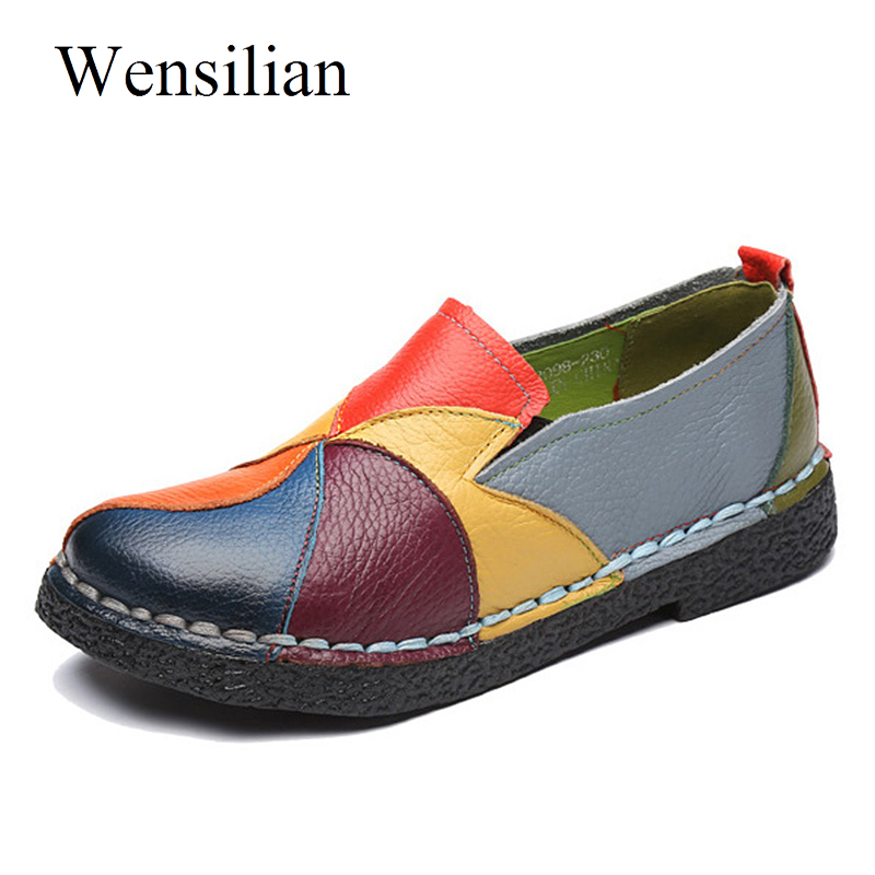 Summer Flat Shoes Women Genuine Leather Shoes Women Soft Round Toe Ballerina Slip On Ladies Loafers Chaussure Femme Plus Size odetina 2017 fashion summer ladies ballet flats shoes women loafers slip ons ballerina flat patent leather round toe big size 52