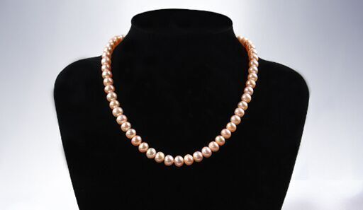 AAA+7-8mm Natural south sea GENUINE pink ROUND pearl necklace 925silverAAA+7-8mm Natural south sea GENUINE pink ROUND pearl necklace 925silver