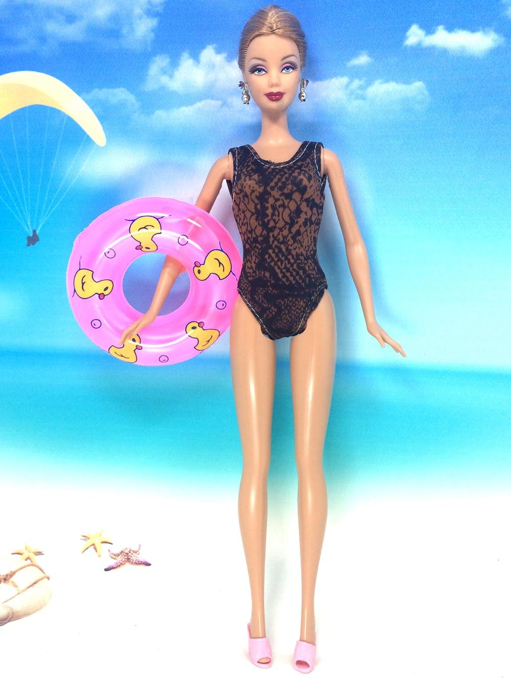 NK Doll Swimwear Seashore Bathing Garments Bikini Swimsuit+Slippers+Swimming Buoy Lifebelt Ring For Barbie Doll Greatest Woman' Reward 007A