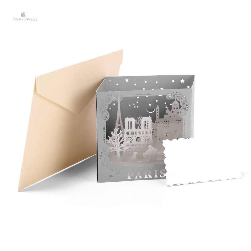 Tarjeta De Cumpleaños 3d París Bautizo Bebé Invitaciones Corte Láser Gracias Tarjetas De Fiesta De Navidad Con Sobres En Blanco