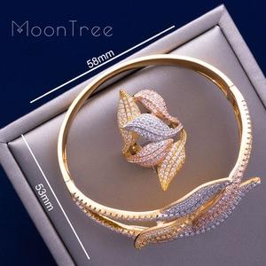 Image 5 - MoonTree יוקרה חמניות 3 טון מלא AAA מעוקב Zirconia רחב צמיד צמיד טבעת סט תכשיטי שמלה לנשים