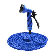 7 In 1 Spray Gun 25-200FT Expandable Garden Hose Latex Tube Magic Flexible Hose for Garden Car Plastic Hoses Blue garden hose(China)