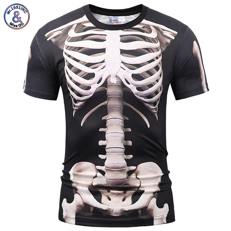 Mr.1991INC Europe America Fashion Men/Women   T  -  shirt   3d Print Skeleton Skulls   T  -  shirt   Summer Tops Tees Brand   T     shirt