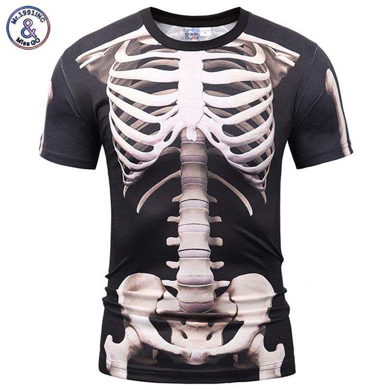 Mr.1991INC Europe America Fashion Men/Women T-shirt 3d Print Skeleton Skulls T-shirt Summer Tops Tees Brand T shirt