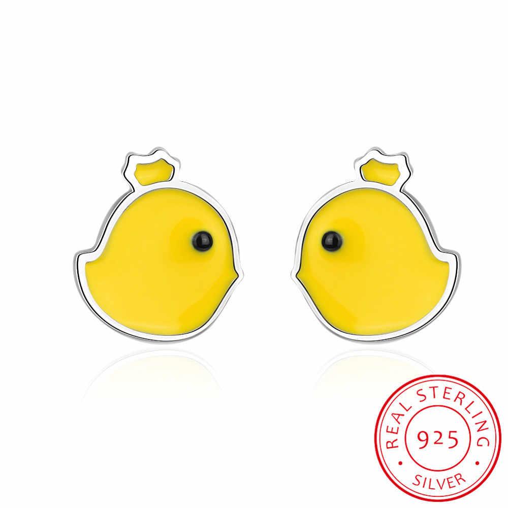 100% S925 เงินสเตอร์ลิงสีเหลือง Chick ต่างหูเครื่องประดับ Silver Chook ไก่ต่างหูสำหรับเจ้าหญิงทารก