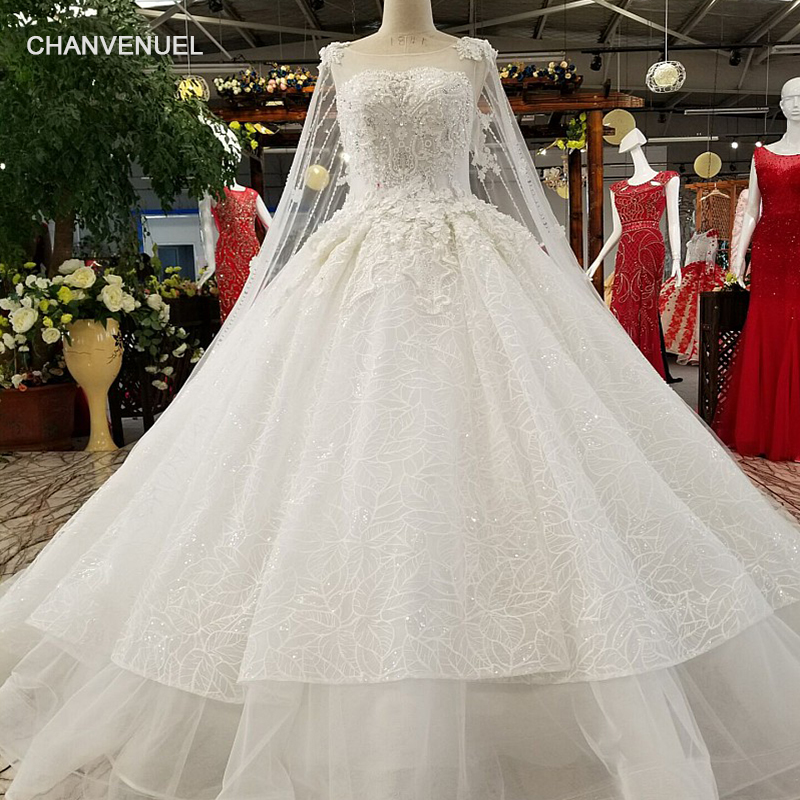 Wedding Gown Online Shopping: LS97440 Tulle Perspective Wedding Gown Fixed Detachable
