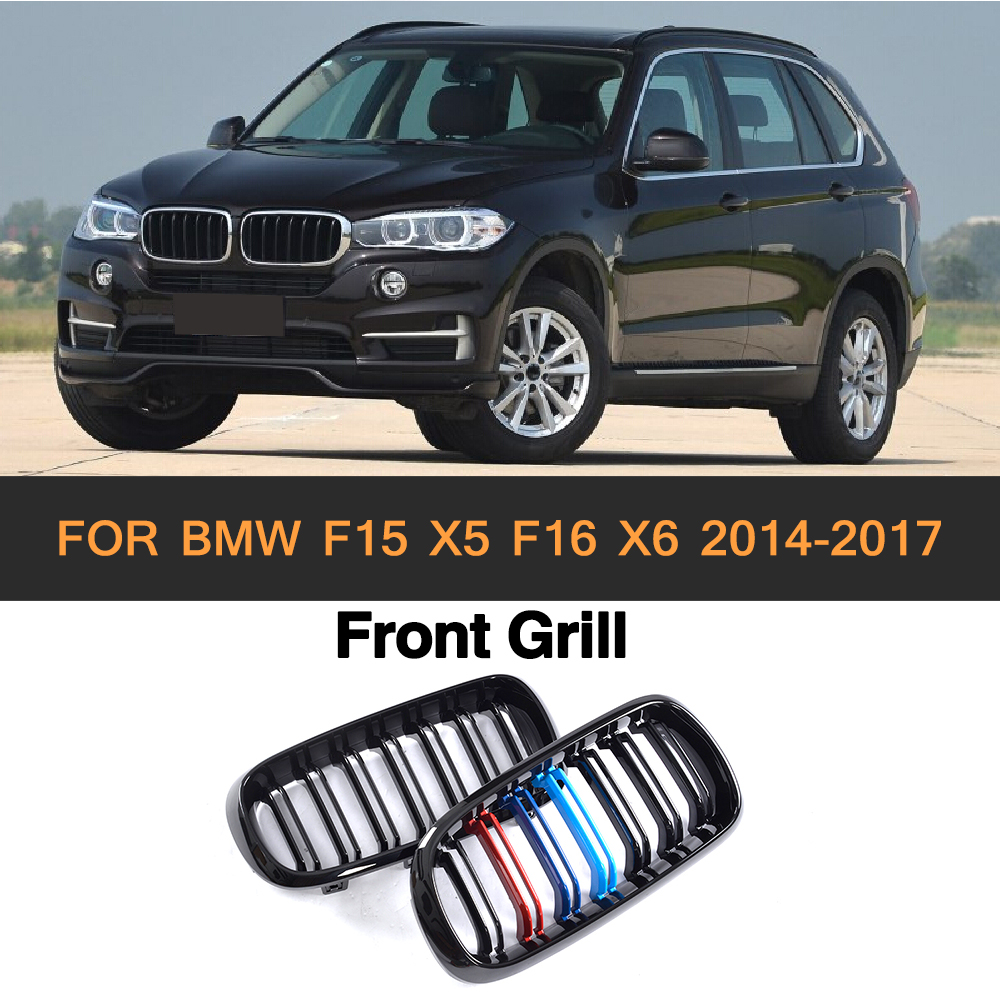 ABS Car Front Bumper Grille Cover Trim For BMW F15 X5 F16 X6 SUV 4 Door 2014-2017 grey frp car grills front bumper grill grille for mazda 6 sedan 4 door only 2009 2013 gs gt i s