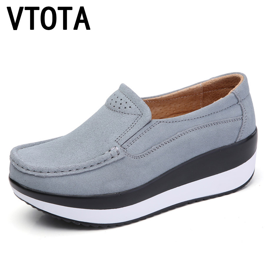 цена на VTOTA High Heels Suede Leather Casual Platform Wedges Shoes Woman Autumn Spring Slip On Shoes For Women zapatos mujer F72