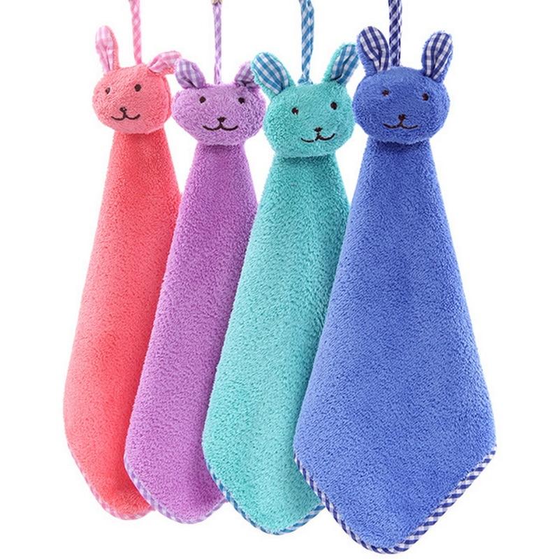 Urijk 1PC 30*30CM Soft Hanging Bath Wipe Towel Baby Hand Towel Cartoon Animal Rabbit Plush Kitchen Childrens Gifts