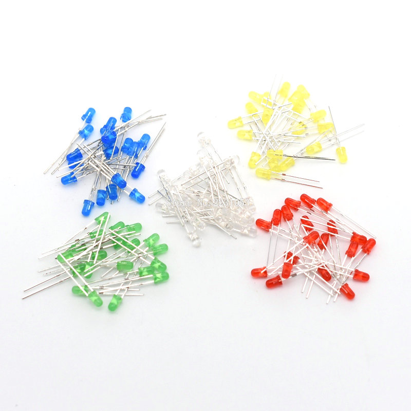 100PCS/LOT 5 Color F3 3MM Round LED Assortment Kit Ultra Bright Water Clear White/Yellow/Blue/Green/Red Light Emitting Diode LED