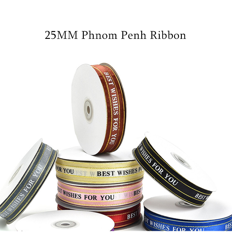 """45m//Roll 25mm Printing English Letter Ribbon /""""Just For You/"""" Romance Gift Decor"""
