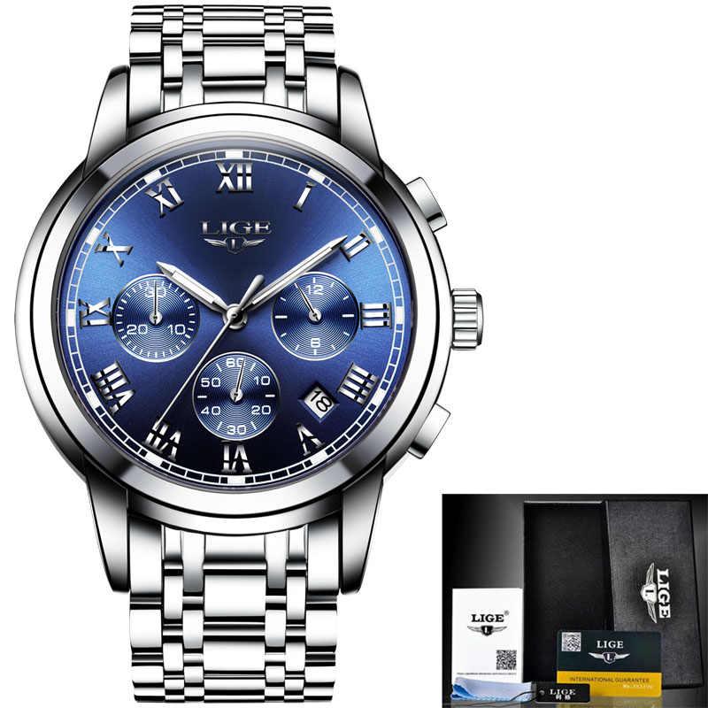 2020 남성 시계 럭셔리 브랜드 LIGE 스포츠 크로노 그래프 시계 남성 방수 전체 스틸 쿼츠 시계 시계 Relogio Masculino