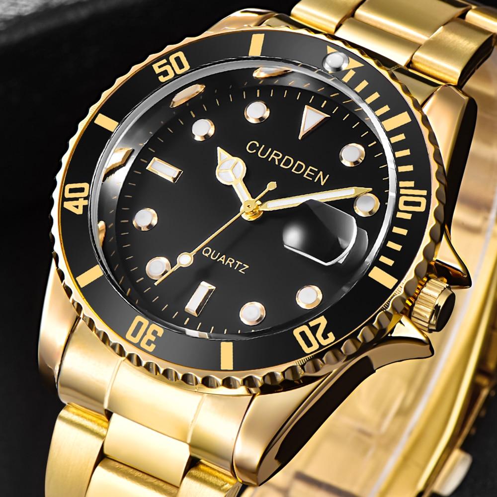 CURDDEN Top Marque de Luxe hommes montres en acier inoxydable bracelet montres Date calendrier Quartz Montre-bracelet Montre Homme de Marque Luxe