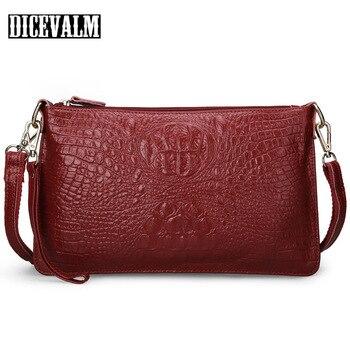 dfcae9c44109 100% воловья натуральная кожа крокодиловая женская сумка-мессенджер модные  сумки на плечо для женщин маленькие сумки клатч кошелек женский