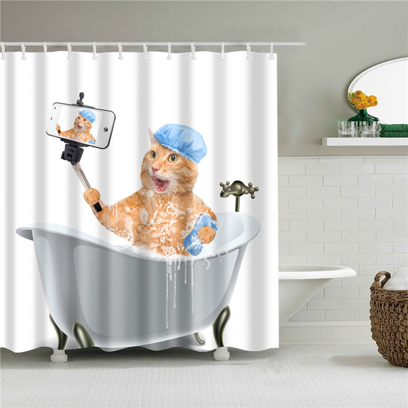 animals dog cortinas de bano navidad Mildewproof bathroom shower curtain home decoration polyester fabric bath screens