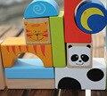 32 pcs crianças Marca geométricas montagem blocos de madeira/Crianças animal dos desenhos animados blocos de aprendizagem brinquedos educativos, Frete grátis