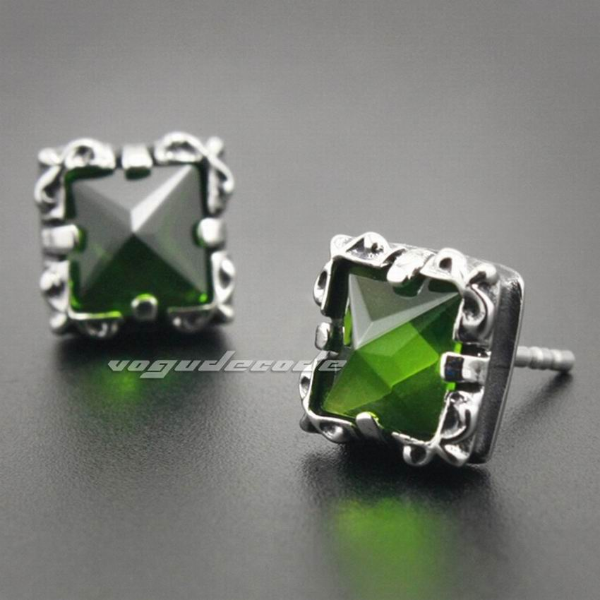 316L Stainless Steel Olive Green CZ Stone Claw Mens Biker Rock Punk Stud Earrings 3Q001 (2 Pieces)
