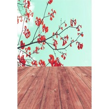 Laeacco Spring Flowers Wooden Boards Floor Baby Portrait Natural Scene Photographic Background Photography Photo Backdrop Studio