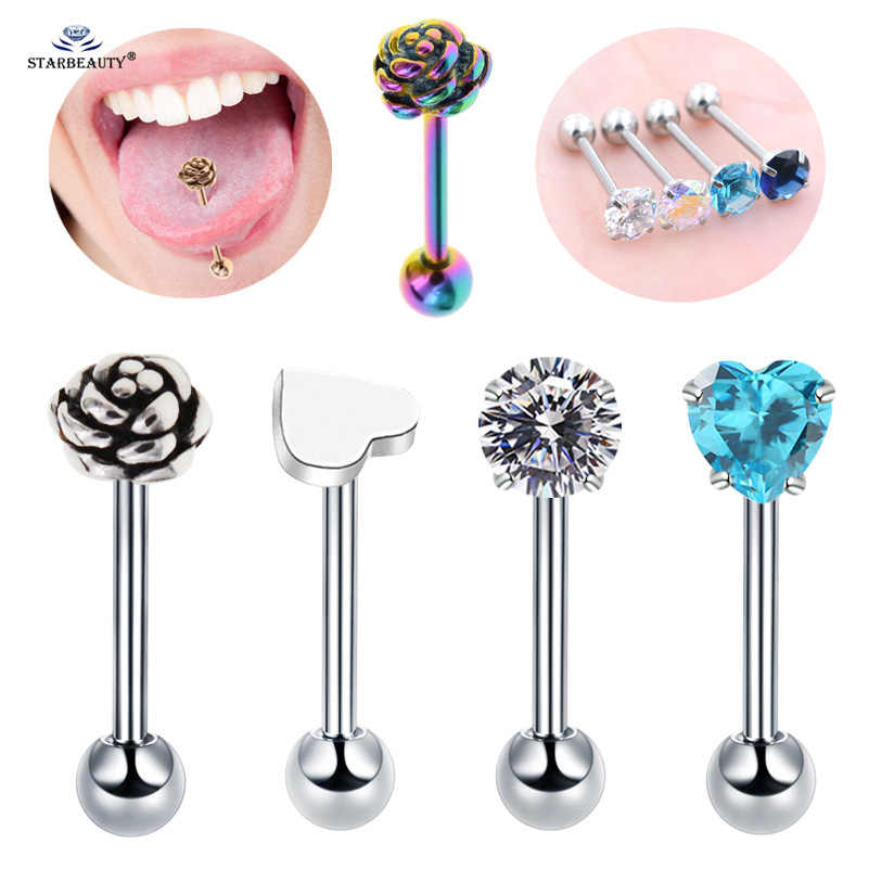 Starbeauty 1 pc/lot Rose Gem Heart Tongue Piercing langue Tongue Rings Surgical Steel Nipple Ring Helix Piercing Earring Jewelry