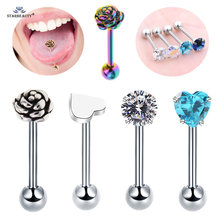Starbeauty 1 pc/lot Rose Gem Heart Tongue Piercing langue Tongue Rings Surgical Steel Nipple Ring Helix Piercing lengua Jewelry(China)