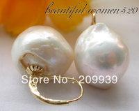 FREE SHIPPING>>> Real baroque white keshi reborn pearl earring